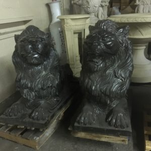 Black Marble Lion Pair